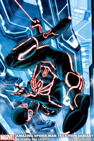 Amazing Spider-Man #651 Tron Variant iPhone Wallpaper