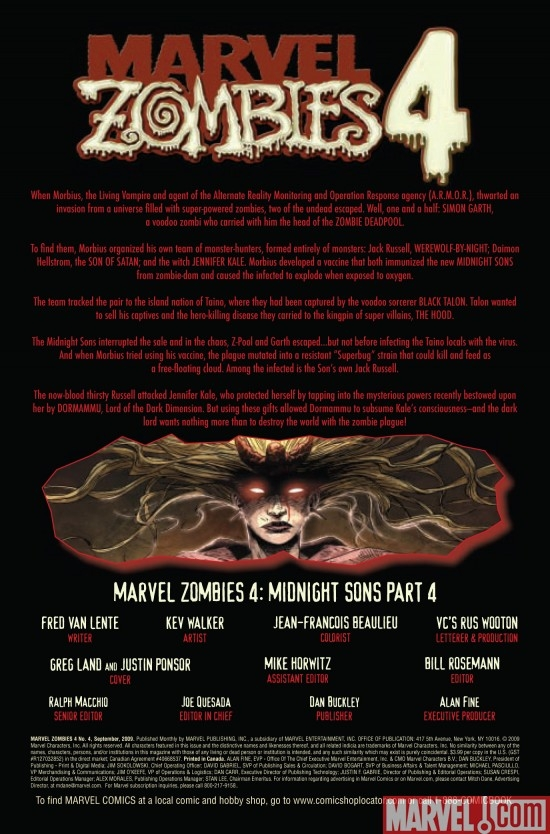 MARVEL ZOMBIES 4 #4, intro page