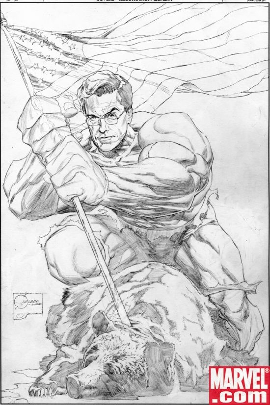 The Rampaging Colbert sketch art by Joe Quesada