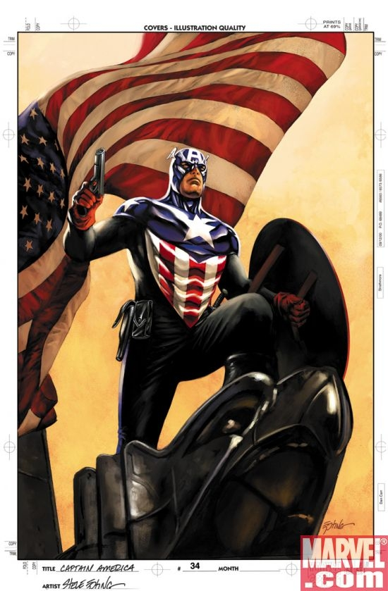 Captain America #34 cover by Steve Epting