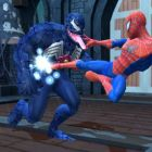 Spider-Man and Venom battle at the church tower.