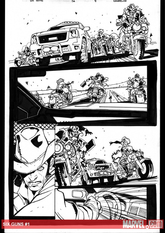 Six Guns #1 preview inks by Davide Gianfelice