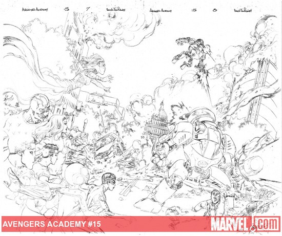 Avengers Academy #15 pencils by Tom Raney