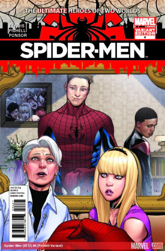 SPIDER-MEN 4 PICHELLI VARIANT (1 FOR 100, WITH DIGITAL CODE)
