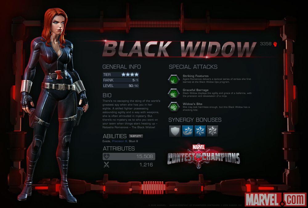 Black Widow Bites Marvel Black Widow in Marvel Contest