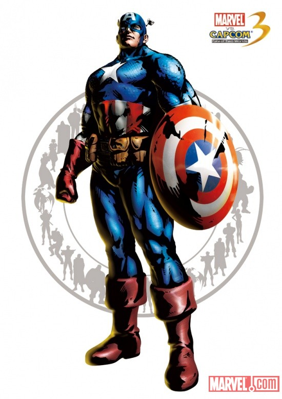 Captain America character art from Marvel vs. Capcom 3