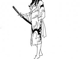 5 Ronin Psylocke sketch by Goran Parlov