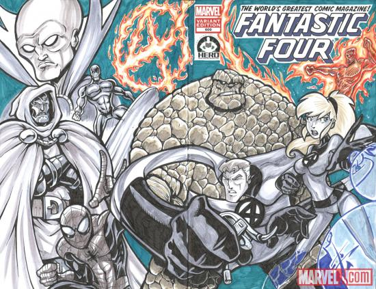 Fantastic Four #600 Hero Initiative variant cover by Benjamin Glendenning 