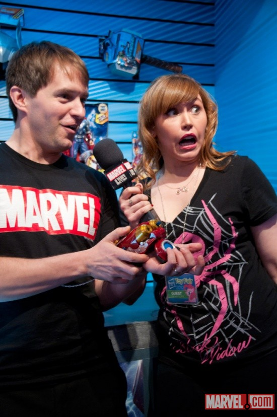 Hasbro Booth with Clayton and Lorraine Cink