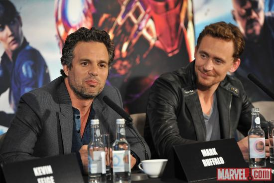 "Mark Ruffalo and Tom Hiddleston at the London press conference for ""Marvel's The Avengers"""