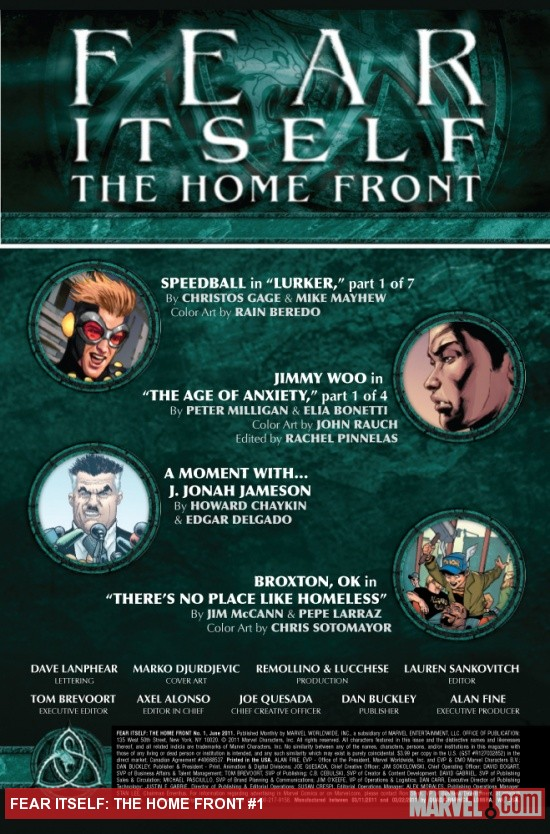 Fear Itself: The Home Front #1 preview art by Mike Mayhew, Elia Bonetti, Howard Chaykin, Pepe Larraz