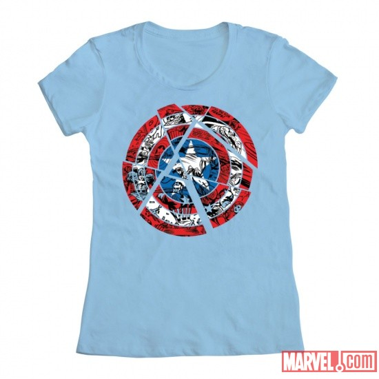 Captain America Fractured Shield Women's Tee by Mighty Fine