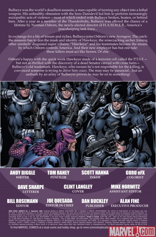 DARK REIGN: HAWKEYE #4, intro page