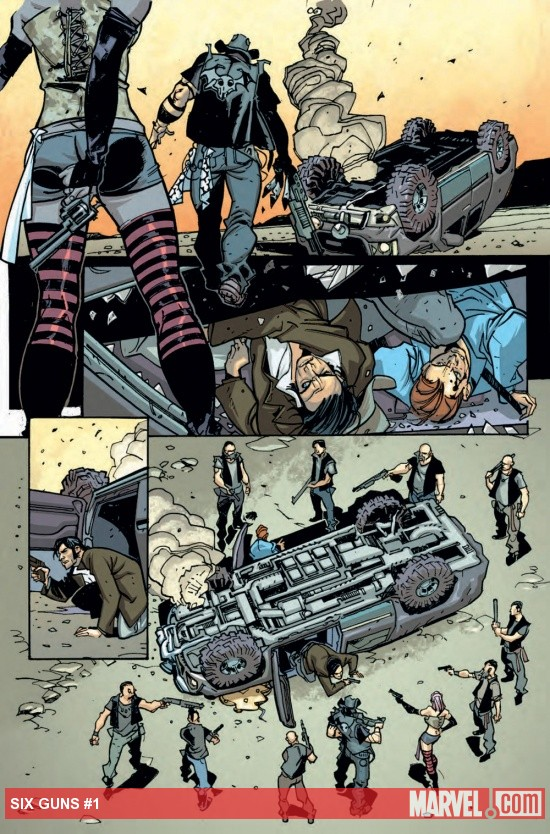 Six Guns #1 preview art by Davide Gianfelice