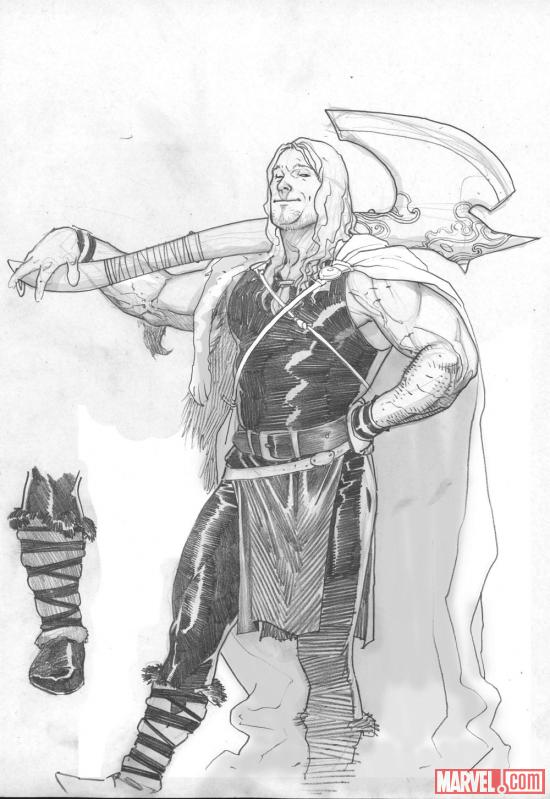 Young Thor pencil sketch by Esad Ribic