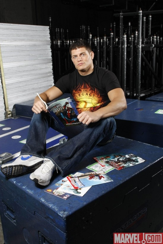 WWE Superstar Cody Rhodes reading ULTIMATE SPIDER-MAN