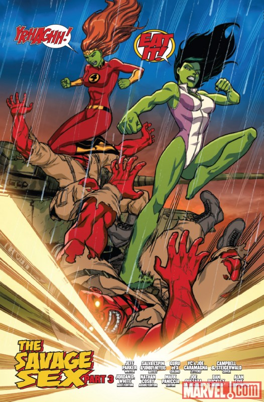 FALL OF THE HULKS: SAVAGE SHE-HULKS #3 preview art by Salvador Espin