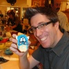 Artist Todd Nauck shows off his Captain America cookie!