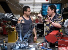 "Robert Downey Jr. and Jon Favreau on the set of ""Iron Man"""