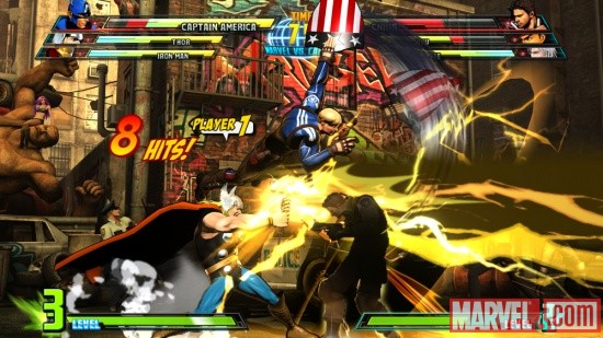 Screenshot of Captain America and Thor vs. Chris from Marvel vs. Capcom 3