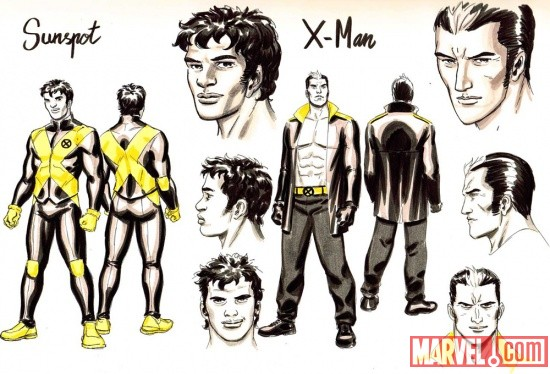 Sunspot & X-Man sketch art by David Lopez