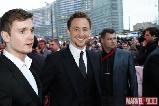 Tom Hiddleston at the Moscow premiere of Marvel's the Avengers