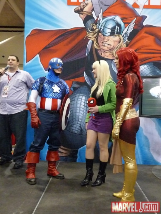Captain America, Gwen Stacey and Phoenix cosplayers at Marvel's Fan Expo Canada Costume Contest