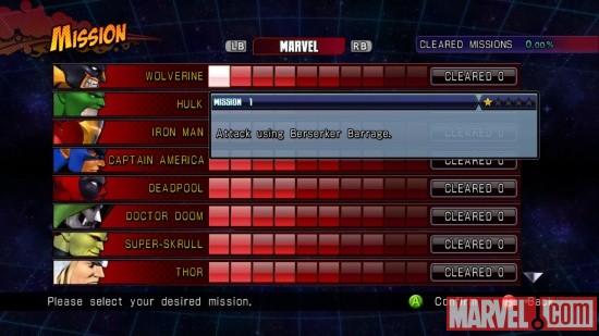 Marvel vs. Capcom 3 Mission Mode screenshot