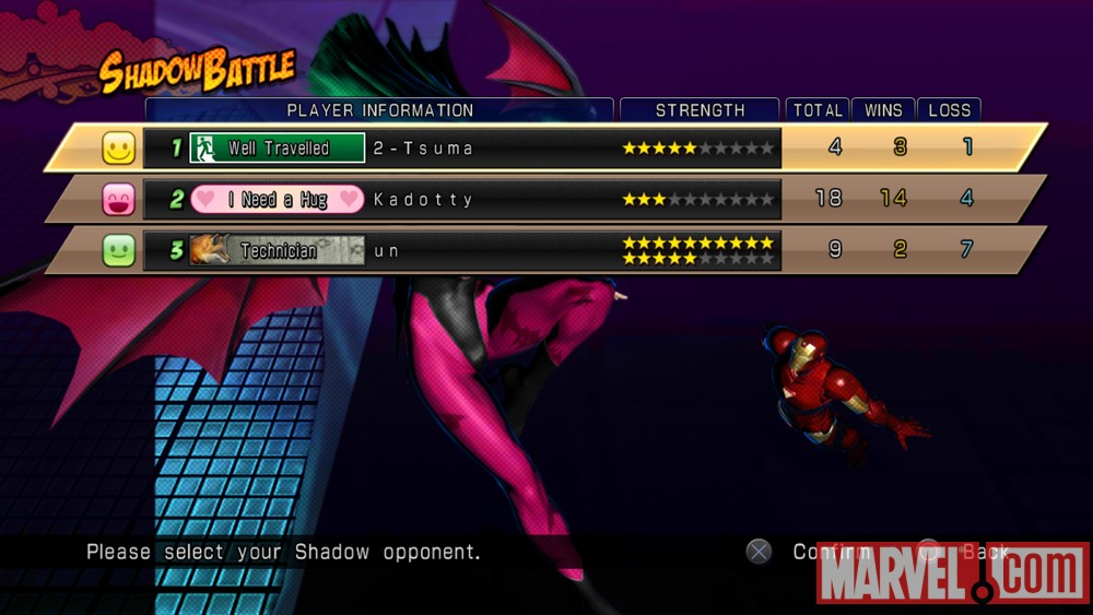 Screenshot of Shadow Mode in Marvel vs. Capcom 3