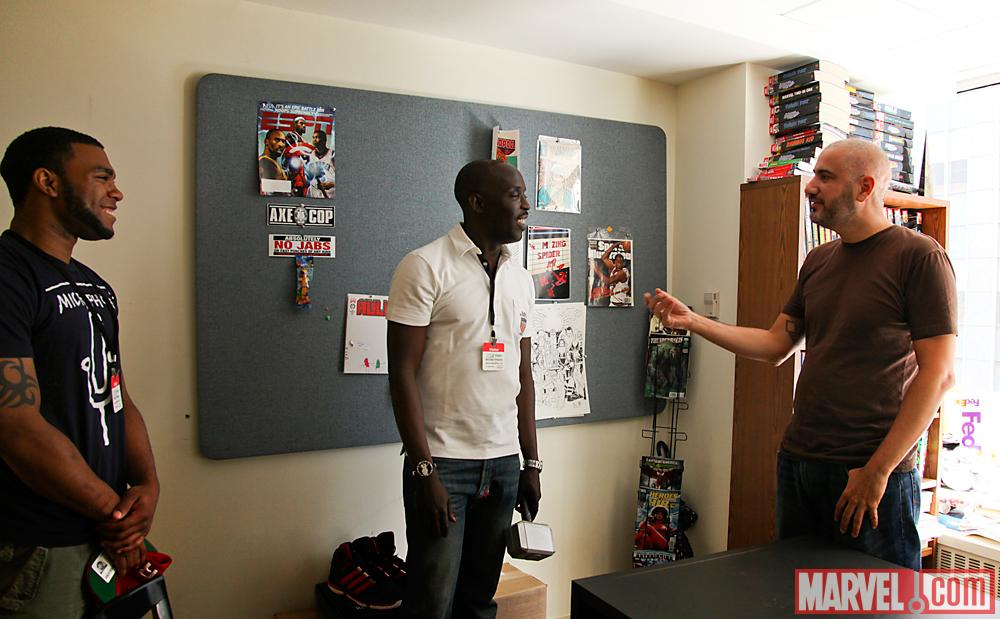 Actor Michael K. Williams, his son Elijah Williams with Marvel Editor-in-Chief Axel Alonso