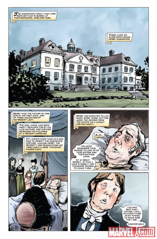 SENSE &amp; SENSIBILITY #1 interior art by Sonny Liew