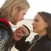 Chris Hemsworth and Natalie Portman share a quiet moment in Thor