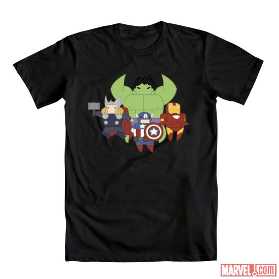 """Little Avengers"" by Mandolin Basinger shirt design for Mighty Fine"