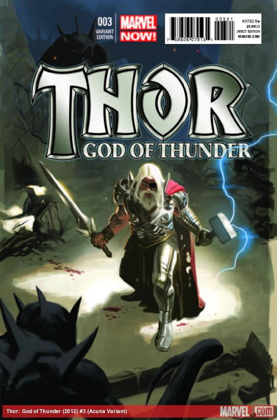 THOR: GOD OF THUNDER 3 ACUNA VARIANT (NOW, 1 FOR 50, WITH DIGITAL CODE)