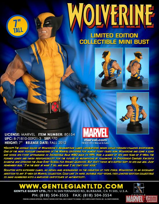 Gentle Giant Marvel Wolverine Mini Bust poster