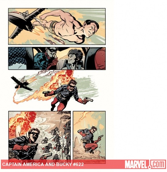 Captain America & Bucky #622 preview art by Chris Samnee