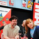 The Watcher's Lorraine Cink and Tom Brevoort at Avengers Vs X-Men Release Party at Midtown Comics
