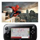 Spider-Man poses on a ledge with game pad image below