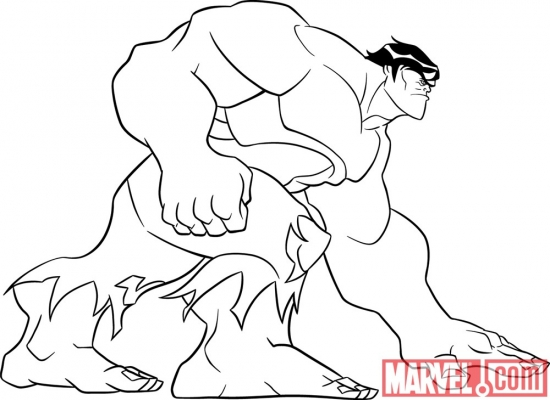 Black and white lineart of Hulk from 'The Avengers: Earth's Mightiest Heroes!'