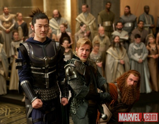 Tadanobu Asano, Josh Dallas and Ray Stevenson star as Hogun, Fandral and Volstagg in Thor