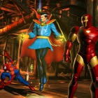 Screenshot of Doctor Strange, Spider-Man and Iron Man from Ultimate Marvel vs. Capcom 3