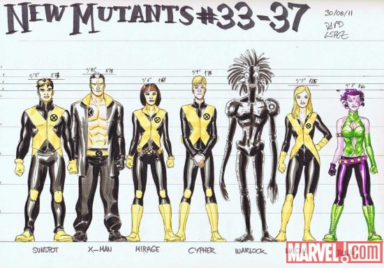 New Mutants sketch art by David Lopez