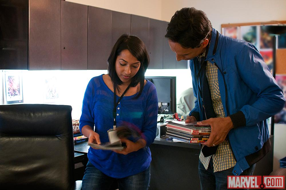 Marvel Comics editor Sana Amanat and Danny Pudi