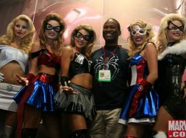 John Dokes with the Fashion Show Girls