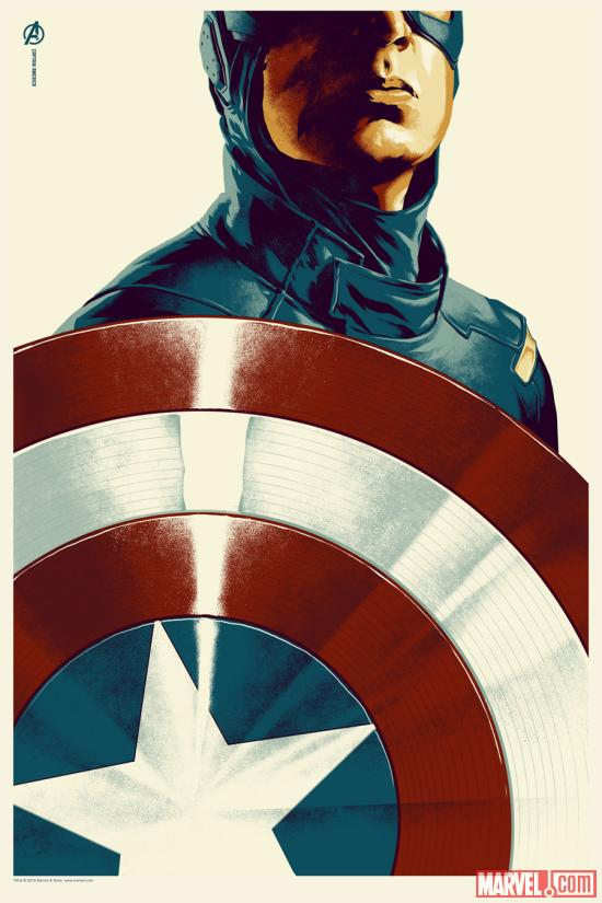 Marvel's The Avengers Captain America poster by Phantom City Creative for Mondo