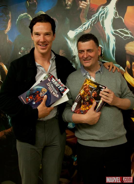 Sherlock Star Benedict Cumberbatch and Executive Producer Steven Moffat at Marvel Headquarters in NYC