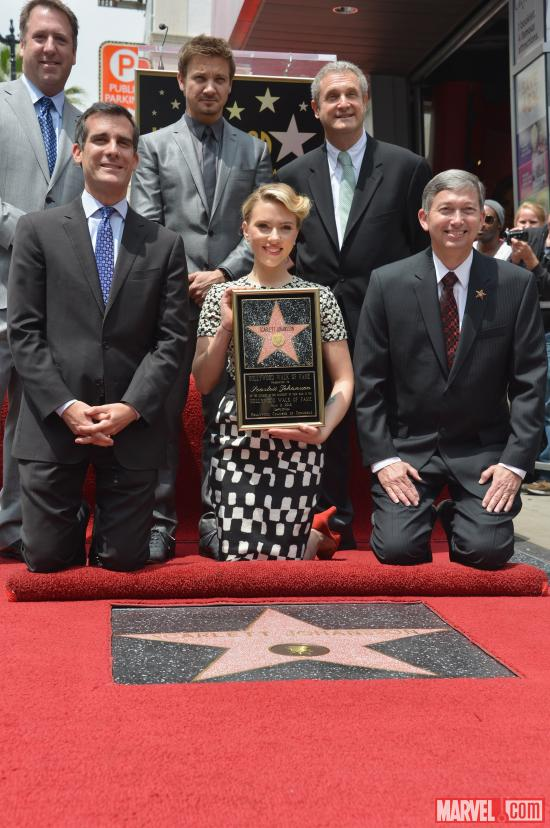 Scarlett Johansson receiving her star on the Hollywood Walk of Fame