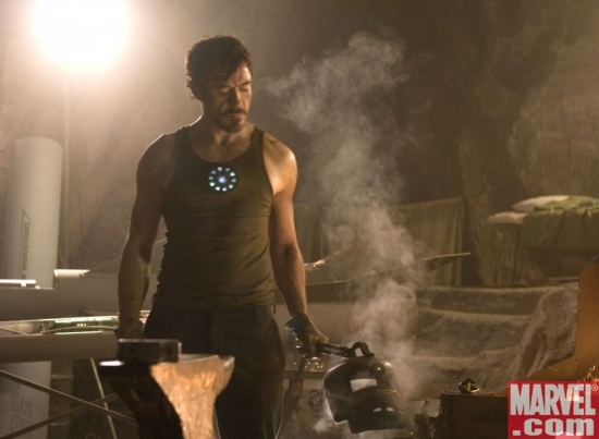 Tony Stark, forging the Mark I armor