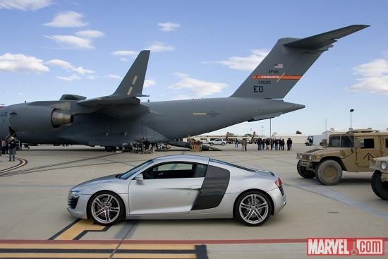 The Audi R8 Coupe on the set of Marvel's Iron Man