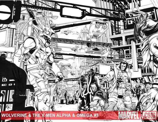 Wolverine &amp; The X-Men: Alpha &amp; Omega #1 inked preview art by Mark Brooks